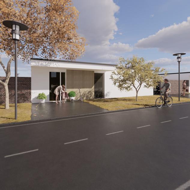 3d vizualizácia exteriéru rodinného domu alebo bungalowu s bielou a drevenou fasádou vytvorená v programe Revit a Enscape