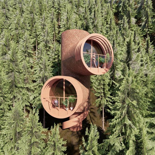 3d vizualizácia exteriéru futuristického domu v korunách stromov z hnedej drevenej fasády vytvorená v programe Revit a Enscape