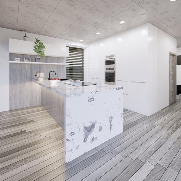 3d vizualizácia interiéru kuchyne z pracovnej dosky z bieleho mramoru a drevených a bielych kuchynských skriniek a sivej drevenej podlahy 2