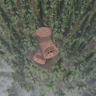 3d vizualizácia exteriéru futuristického domu v korunách stromov z hnedej drevenej fasády vytvorená v programe Revit a Enscape 4