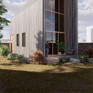 3d vizualizácia exteriéru drevodomu z tmavo šedého dreva na malom pozemku vytvorená v programe Revit a Enscape 5