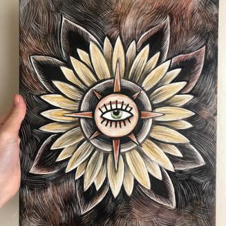 sunflower and compass tattoo design