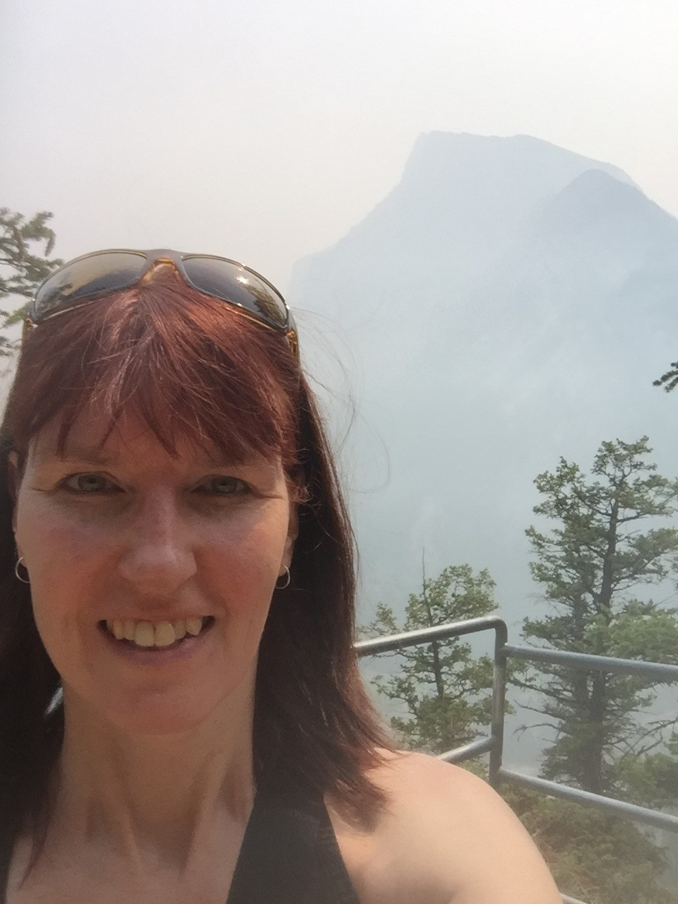 Me in front of a smoke-hazed Rundle Mountain in 2018
