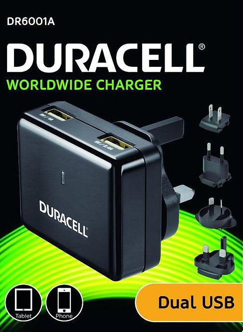 Duracell Dual USB Worldwide Travel Charger