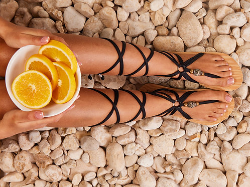 סנדל קיץ עם שרוכים ארוכים -שחור