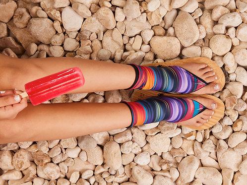 סנדל קיץ עם גרב עליונה - צבעוני