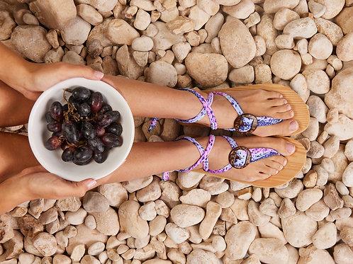 סנדל קיץ עם שרוכים קצרים - סגול ורוד לבן