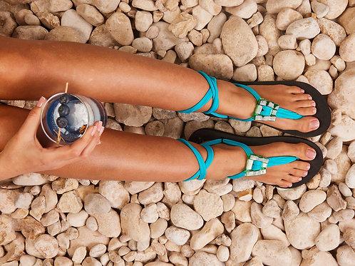 סנדל קיץ עם שרוכים קצרים - תכלת