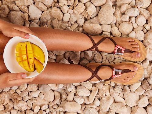 סנדל קיץ עם שרוכים קצרים - חום