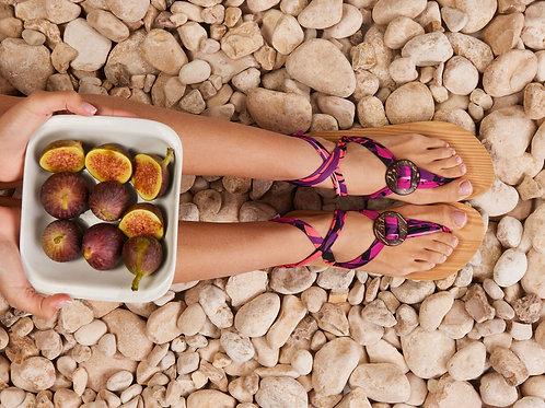 סנדל קיץ עם שרוכים קצרים -סגול חלומי