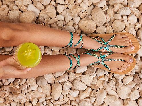 סנדל קיץ עם שרוכים ארוכים - טורקיז קאריבי