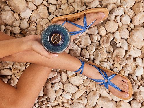 סנדל קיץ עם שרוכים ארוכים - כחול ג׳ינס