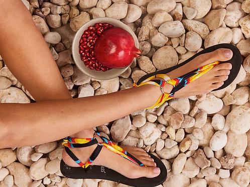סנדל קיץ עם שרוכים קצרים - צבעוני יסוד