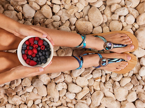 סנדל קיץ עם שרוכים קצרים -תכלת מקושקש