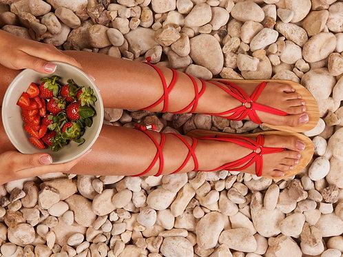 סנדל קיץ עם שרוכים ארוכים -אדום