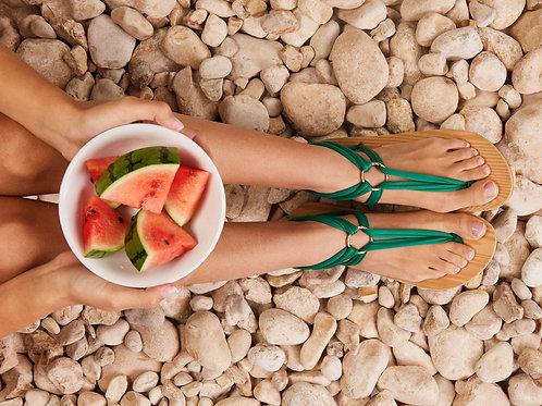 סנדל קיץ עם שרוכים קצרים - ירוק