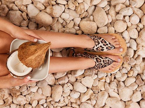 סנדל קיץ עם גרב עליונה - מנומר