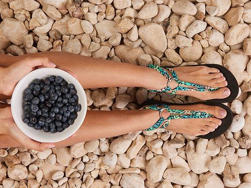 סנדל קיץ עם שרוכים קצרים - טורקיז מנומר