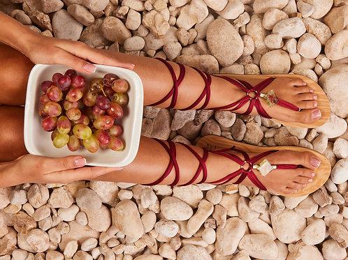 סנדל קיץ עם שרוכים ארוכים - בורדו