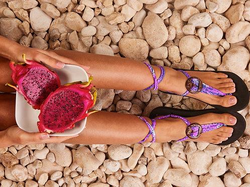 סנדל קיץ עם שרוכים קצרים - פרח הלילך (סגול/ורוד)