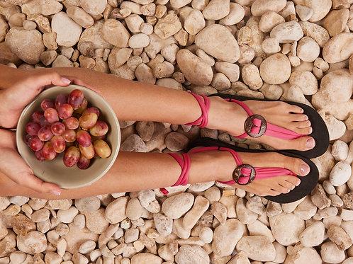 סנדל קיץ עם שרוכים קצרים -ורוד