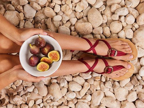 סנדל קיץ עם שרוכים קצרים -בורדו