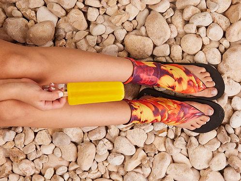 סנדל קיץ עם גרב עליונה -אפרסק