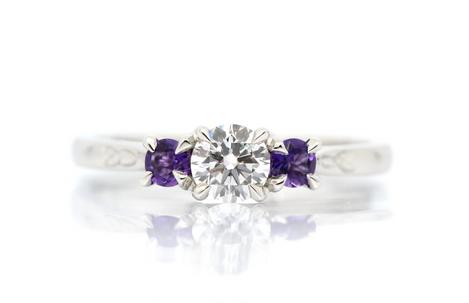Amethyst & diamond trilogy ring