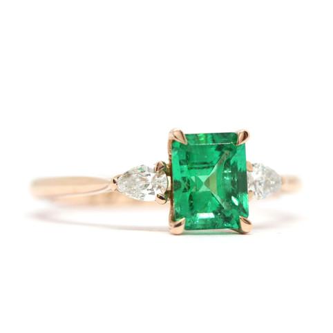 Colombian Emerald & Diamond engagement ring
