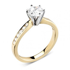 Six claw, channel diamond set