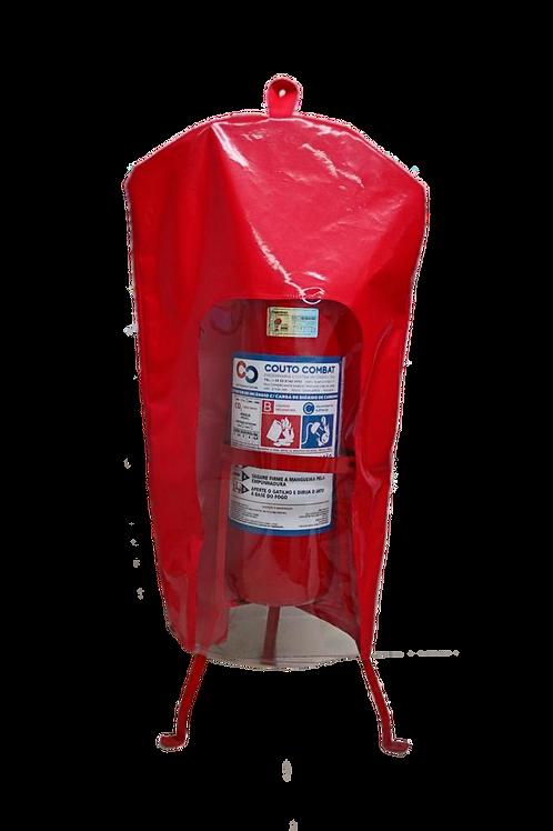 Capa para Extintor de Incêndio PQS 4 e 8 KG em PVC Vermelho com Visor Cristal