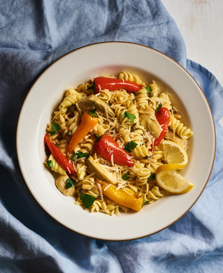 Pasta Salad with Lemon, Artichoke Hearts & Roasted Peppers