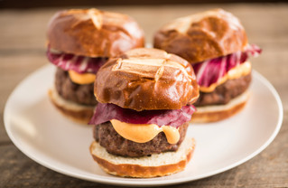 Lamb Sliders with Radicchio and Sriracha Mayonnaise on Brioche Rolls