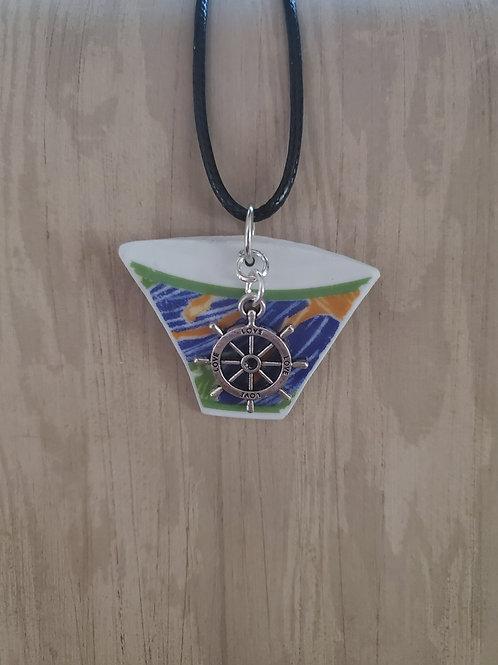 Bold Ship's Wheel Pendant Necklace