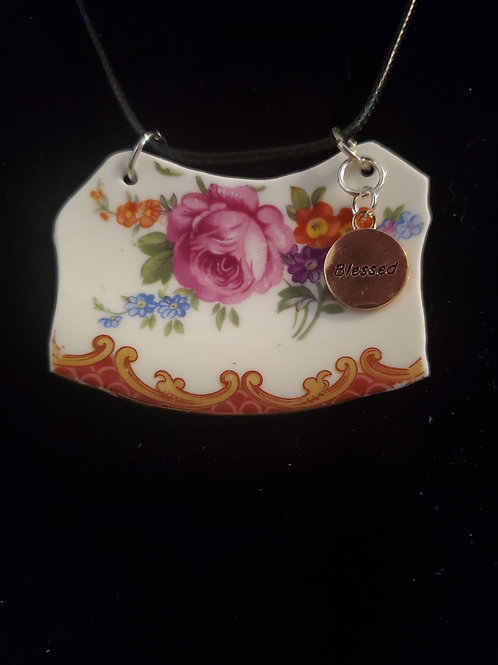 Large Floral Pendant with Gold Blessed Charm