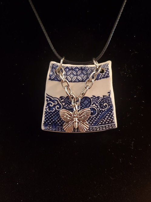 Silver Butterfly on Blue Willow China Plate Pendant