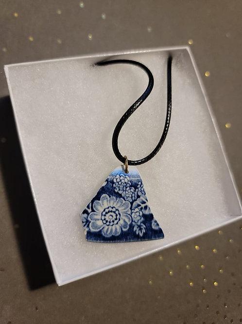 Deep Blue Floral Edge Broken Pottery Pendant Necklace