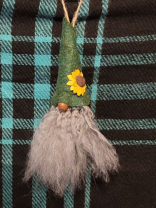 Gnome Ornament - Green with Sunflower