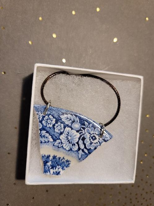 Blue Floral Edge Broken Pottery Pendant Necklace