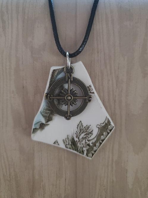 Bronze Compass Rose Pendant Necklace