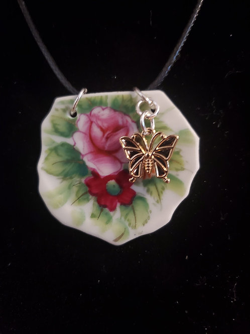 Pink and Red Flower with Gold Butterfly Charm