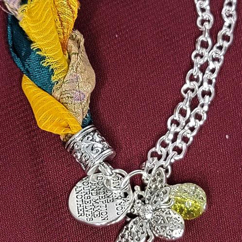 Bee Green Sari Silk Bracelet