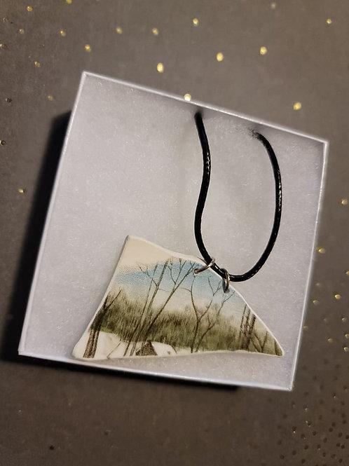 Grassy Landscape Broken Pottery Pendant Necklace
