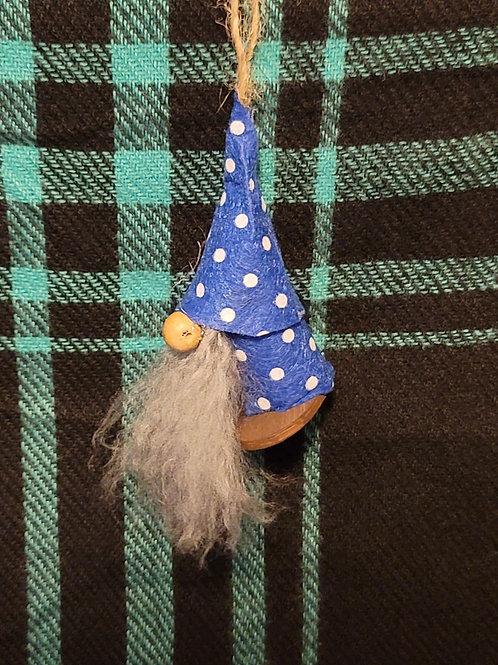 Gnome Ornament - Blue Polka Dots
