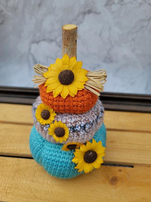 Cheery Sunflower Pumpkin Stack - Fall Decor