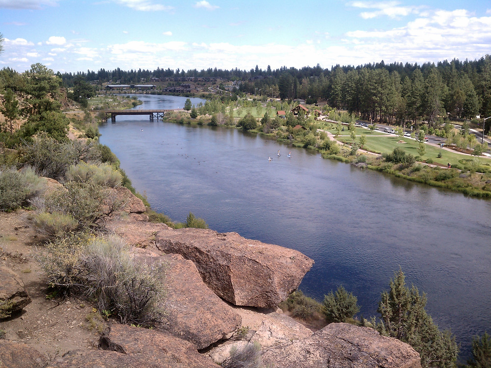 River view over River Bend Park in Bend, OR.