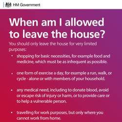 You should only leave the house for very limited purposes.  Further details available here: https://