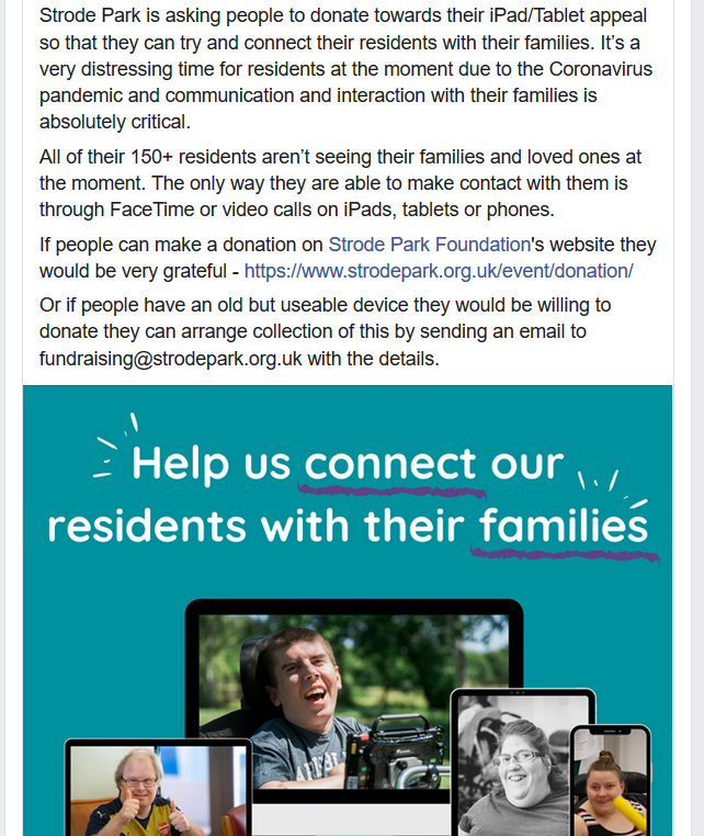 📱Strode Parks 'Connect Residents With Their Families' campaign.📱
