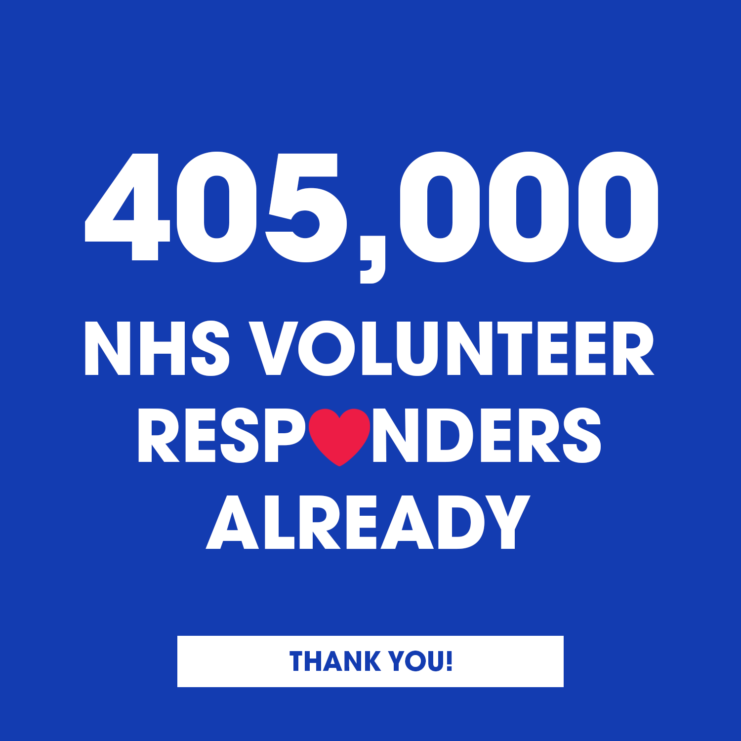 A MASSIVE thank you to the 405,000 people who've already signed up to become an NHS Volunteer Respon