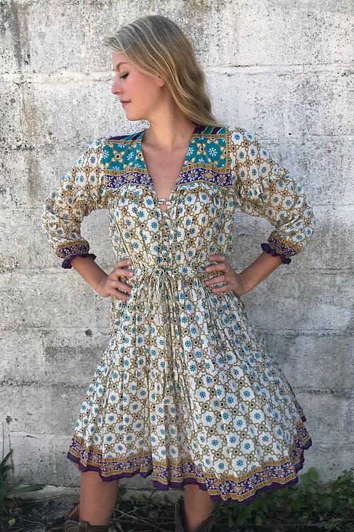 Sissy Cowgirl Dress - Vanilla & Turquoise